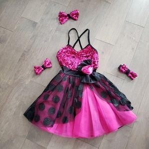 Weissman hot pink and black costume